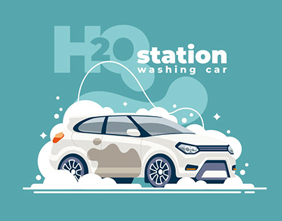 Illustrations for H2O car wash station