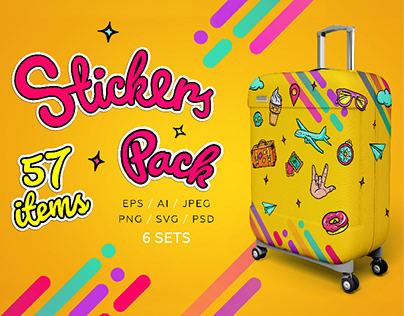 Bright Retro Style Stickers