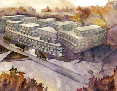 Watercolor visualizations of multi-storey housing