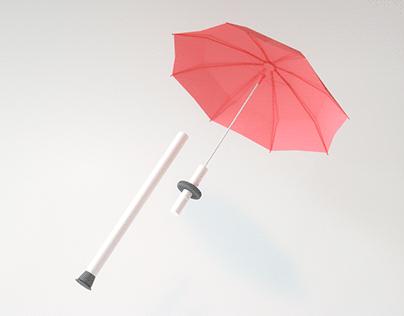An Umbrella Inclusive Walking Aid