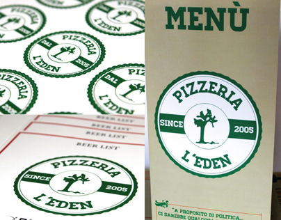 "Menù, stickers & beer list of the Pizzeria ""L'Eden"""