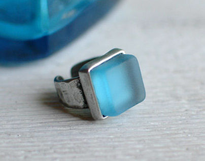 Upcycled Glass Bottle, Recycled Pewter Rings