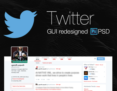 Twitter GUI redesigned PSD Freebie