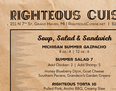Righteous Cuisine To-Go Menu