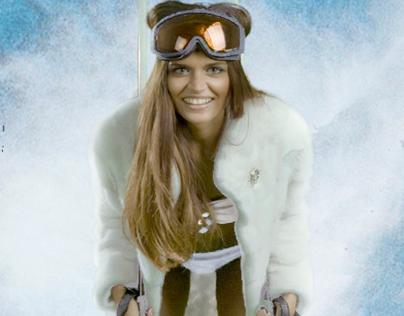 female ski instructor business card