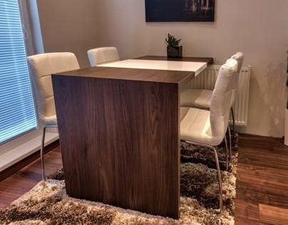 Dinning table - Dark walnut / white high gloss