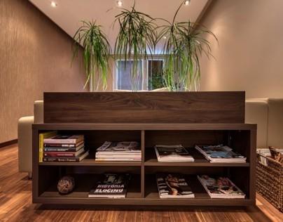 Mini library with the pots - dark walnut