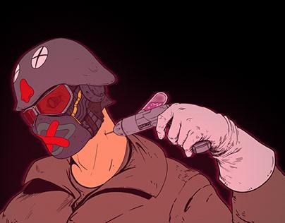 A.D. 2.222 - cyberpunk character poster