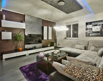 Living room Black and white high gloss