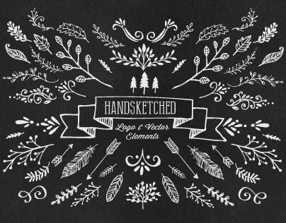 115 Hand-Sketched Vector Elements
