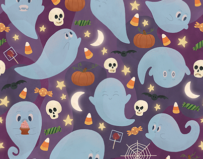 Ghostly Halloween Pattern