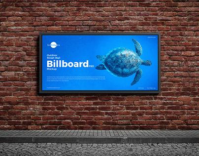 Free Outdoor Street Wall Billboard Mockup PSD