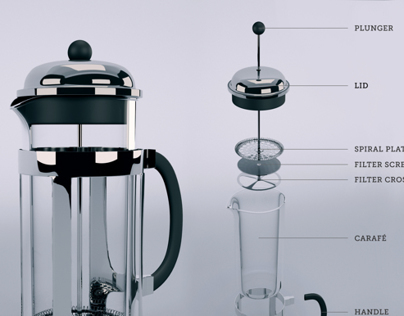 French Press Exploded View