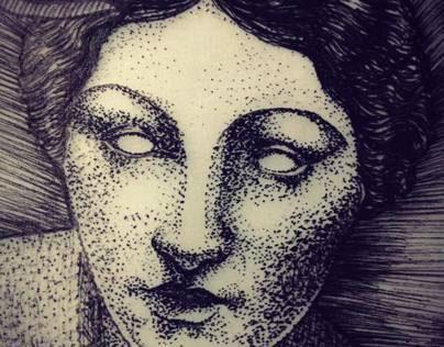 Sculpture of a woman in an art nouveau frame