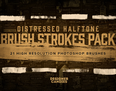 21 Distressed Halftone Brush Strokes