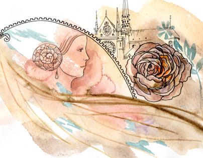 Illustration for greeting card.   Her eyes light spread