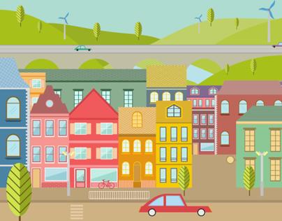 Colorful City Illustration