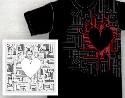 Heart Circuit T-Shirt Design