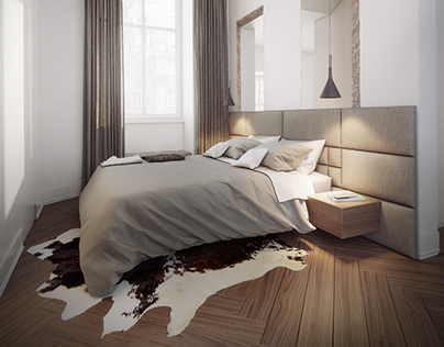 Bedroom of modern apartment in tenement house.