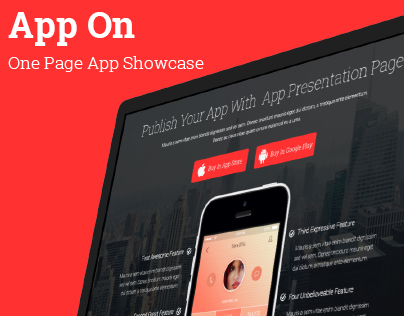 App On - One Page App showcase Landing Page (FREE PSD)