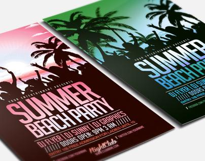 Summer Beach Paty Flyer Template