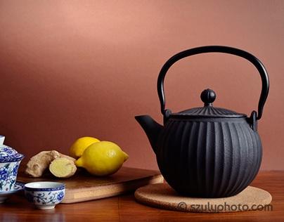 Chrysanthemum, lemon and ginger tea set
