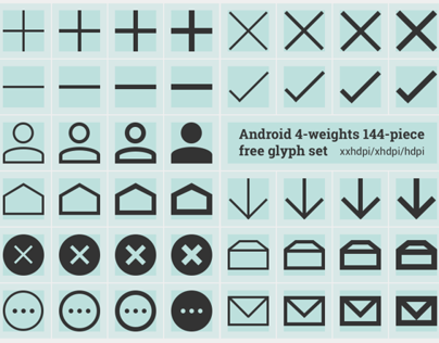 Free Android glyphs in 4 weights