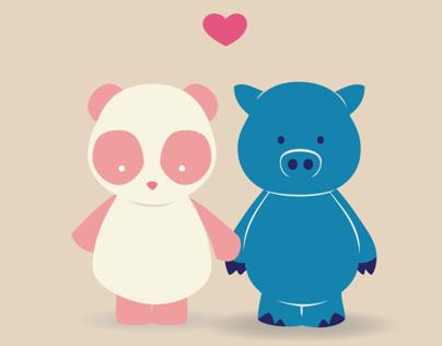 Le Pink Panda & Le Blue Porc