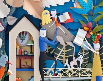 Paper Sculpture. Garden of Books.