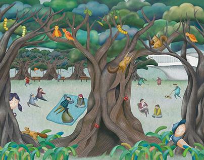 衛武營國家藝術文化中心停車區插畫互動-榕樹廣場插畫