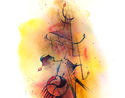 Watercolor Abstract Composition - Point of view