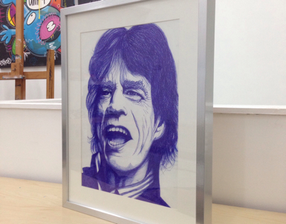 'Mick Jagger' BIC drawing including frame 40x50cm