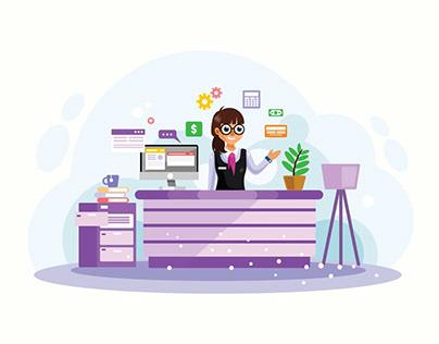 Female Bank Teller Vector Illustration Free Download