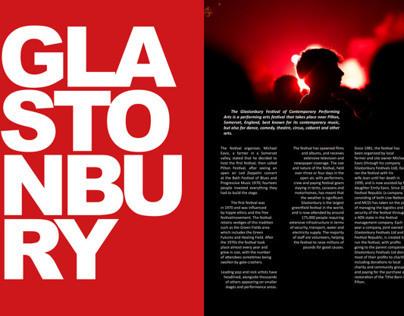 Glastonbury Double Page Magazine Layout