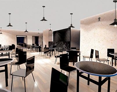 interior design of a restaurant in a small hotel