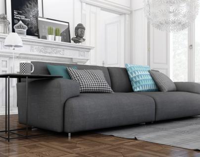 Grey & Wood Living Room