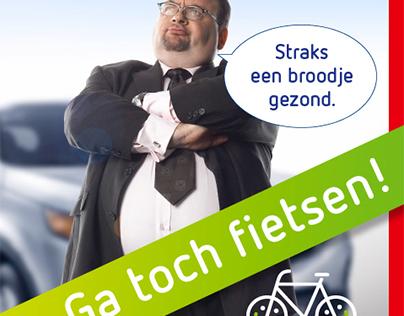 Campagne fietsactie 'Op de fiets werkt beter'