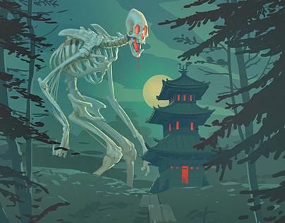 Gashadokuro coming out at night...