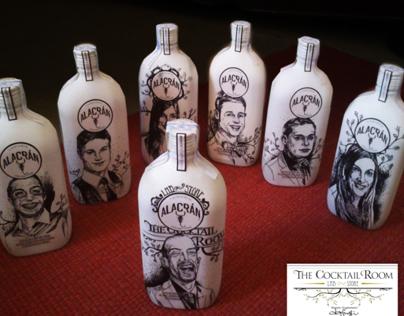 Tequila Alacrán, Portraits on bottles surfaces