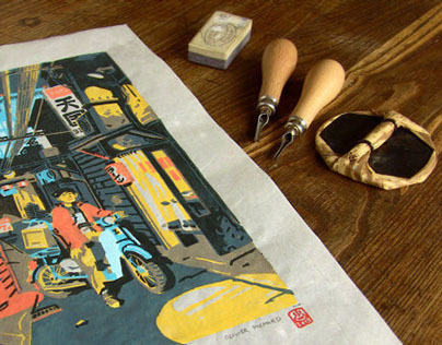 Printing process (handmade linocut prints)