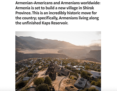 Village to be built in Shirak Province, Armenia