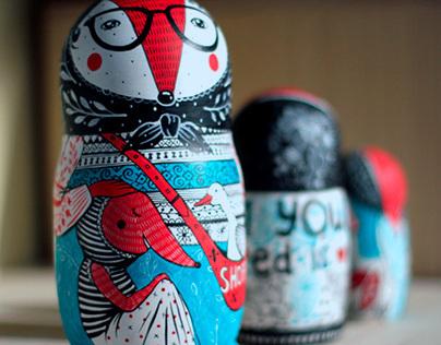 Russian dolls(Matryoshka). Hand painted.