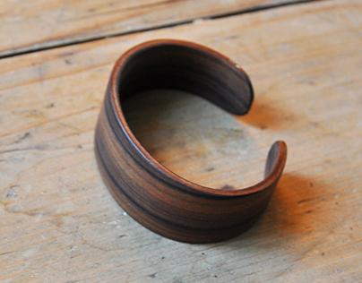 Wooden veneer bangle