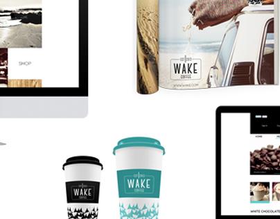 "BRAND AND IDENTITY DESIGN   ""WAKE"" COFFEE"