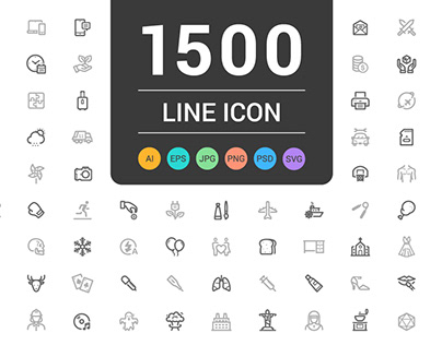 1500 Line Icons Pack