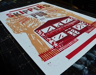 Skippers Pub Letterpress Poster
