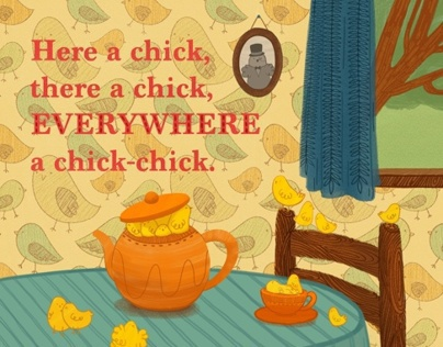 Here a Chick, There a Chick: Children's Book Spread
