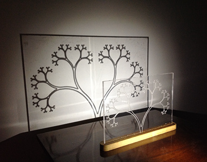 Shadow art of fractal tree, carved perspex with CNC