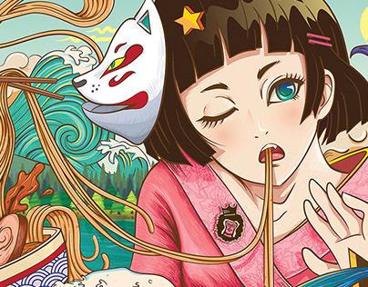 Anime ramen mural by bubupanda