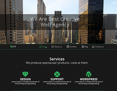 Dark - One Page PSD Template